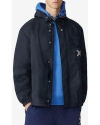KENZO Logo Print Hooded Rain Jacket - Black