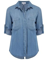 Bella Dahl Split Back Button Down Shirt , Colour:medblue