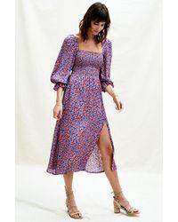 Aspiga Nancy Satin Puff Sleeve Shir Midi Dress | Ditsy Blue/ - Red