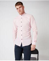 Remus Uomo Grandad Collar Shirt - Pink