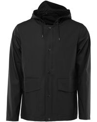 Rains Short Hooded Coat - Black