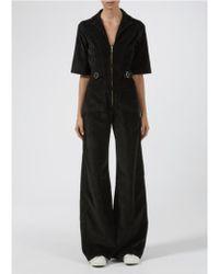 Donna Ida Cassandra Flared Noir Velvet Jumpsuit - Black