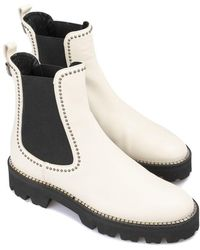 Baldinini Studded Smooth Leather Chelsea Boots - White