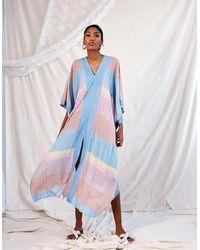 Jessica Russell Flint Impala Tulip Maxi Katfan Dress - Blue