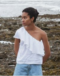 Beaumont Organic Isabelle Linen Top In Off - White