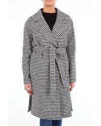 be Blumarine Two-tone Trench Coat In Houndstooth - Black