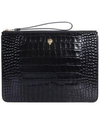 McQ A4 Clutch With Skull - Black