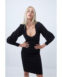 French Connection Joss Knit Balloon Sleeve Dress - Black