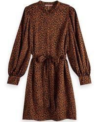Scotch & Soda Leopard Long Sleeve Dress - Red