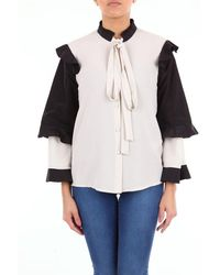 be Blumarine Two-colored Blouse With Long Sleeves - Black