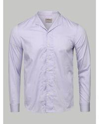 Armani Mandarin Collar Stripe Shirt (lilac) - Purple