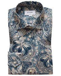 Eton of Sweden Slim Fit Bold Paisley Print Shirt - Blue