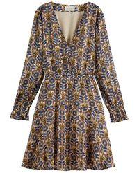 Scotch & Soda Printed Long Sleeved Mini Dress - Brown