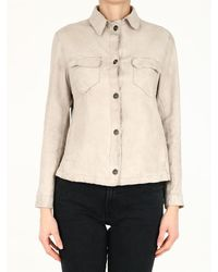 Salvatore Santoro Leather Shirt - White