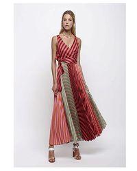 Sfizio Pleated Striped Dress Multi - Red