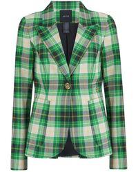 Smythe Patch Pocket Duchess Blazer In Grass Seersucker Plaid - Green