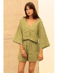 ALIGNE Cinder Cropped Light Linen Jacket Khaki , - Green