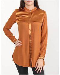 NÜ Silky Detailing Long Line Shirt Colour: Burnt Orange