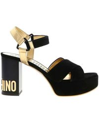 Moschino - Metal Letters Heel Sandal - Lyst