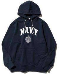 Uniform Bridge Vtg Us Navy Sweat Hoodie - Navy - Blue