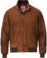 Baracuta G9 Harrington Jacket Winter Suede Tobacco - Brown