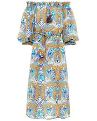 Paolita Phoenix Silk Off Shoudler Dress - Blue