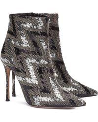 Pura López Nicole Sequined High Heel 9cm Ankle Boots - Metallic