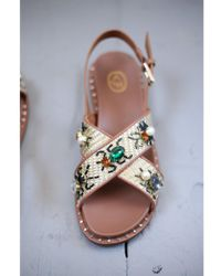 36cd712f86b2 Lyst - Guess Black Flat Sandals With Gemstone Decoration in Black