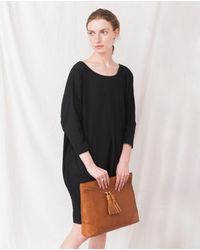 Beaumont Organic Porto Leather Oversized Clutch In Tan - Brown