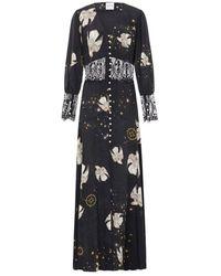 Hayley Menzies Free As A Bird Lace Panel Silk Maxi Dress - Black