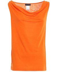 Paolo Fiorillo Capri Cowl Neck Linen Blouse - Orange