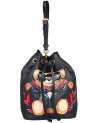 "Moschino Mini ""teddy Bear"" Saffiano Leather Bucket Bag - Black"