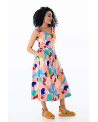 Emily and Fin Margot Brushstroke Abstract Midi Dress - Multicolour
