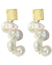 Alison Fern Jewellery Petal Earrings - Metallic