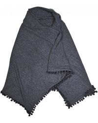 Michael Stars Wrap With Pom Poms In Charcoal - Gray