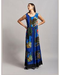 Beatrice B. Printed Maxi Loose Tie Back Dress & Red - Blue