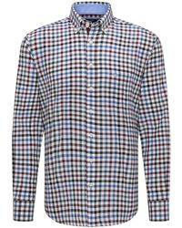 Fynch-Hatton Soft Combination Check Shirt - Blue