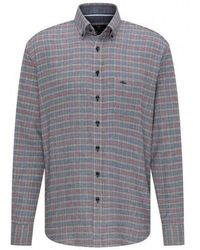 Fynch-Hatton Casual Check Flannel Shirt - Gray