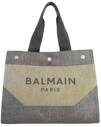Balmain Shopper Bag With Logo - Green