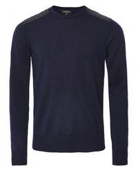 Belstaff Merino Wool Crew Neck Kerrigan Sweater Colour: Navy - Blue