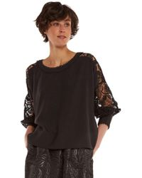 Essentiel - Crepe And Lace Long Sleeve Top - Lyst