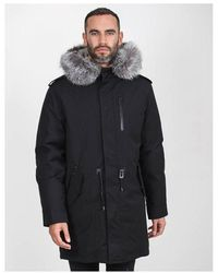 Mackage Racoon Fur Lined Hooded Drawstring Coat With Leather Trim Colo - Black