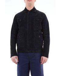 Aglini Single-breasted Leather Jacket - Blue