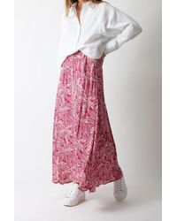 Hartford Joline Skirt In And White Leaves - Pink