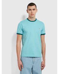 Farah Groves Slim Fit Organic Cotton Ringer T-shirt - Blue