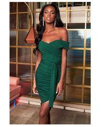 Lavish Alice Bardot Ruched Midi Dress Colour: Forest Green