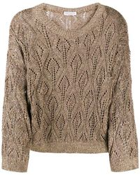 Brunello Cucinelli Open-knit Round Neck Sweater - Brown