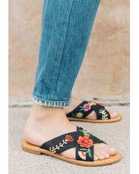 Soludos Embellished Floral Sandals - Black