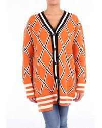 Mrz Cardigan Women Orange White And Black