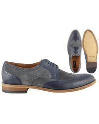 Lacuzzo Grey And Navy Brogue - Blue